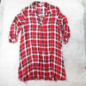 She + Sky Red Plaid Long Tunic Dress Silky Soft S